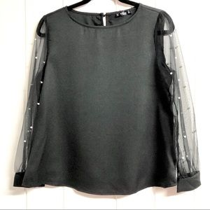 Shein Black Long Sleeve Blouse with Sheer Sleeves